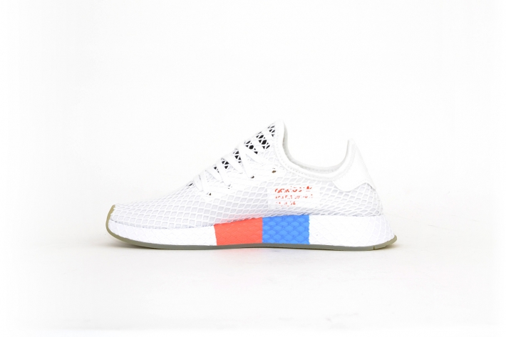 adidas Deerupt Runner clear white w/ blue&red