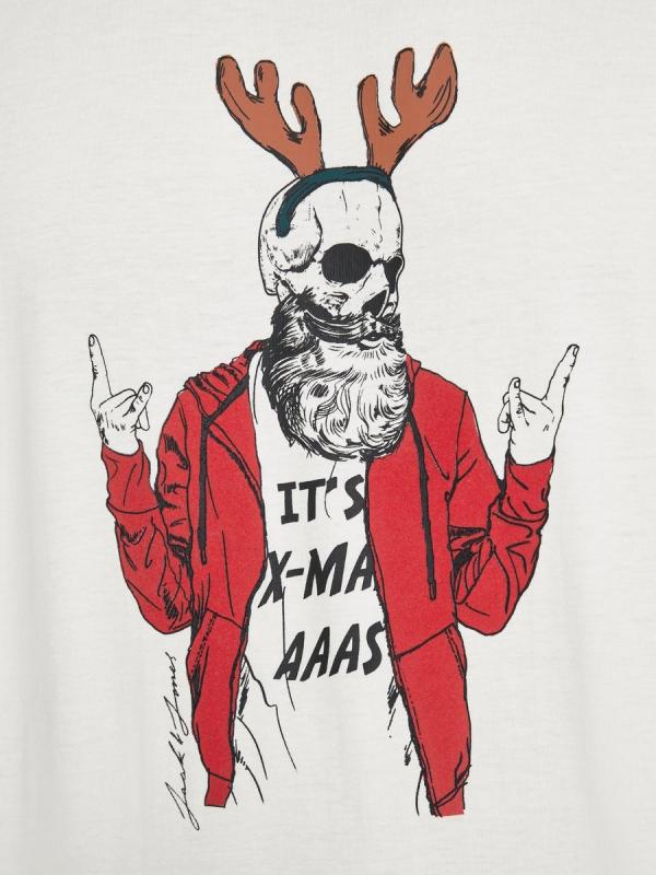 Jack & Jones Skull XMas Tee white