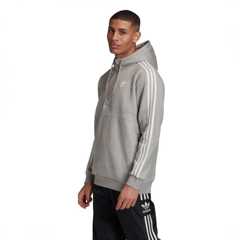 adidas 3-Stripes Half-Zip Hoodie grau / weiß