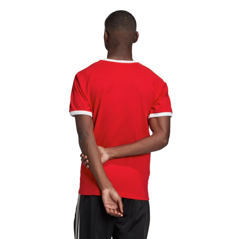 adidas 3-stripes tee rot/weiß