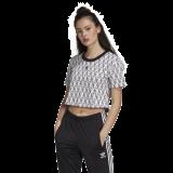 adidas Cropped T-Shirt weiß/schwarz