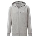 adidas 3-Stripes Zip hoodie grau / weiß