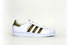 adidas Damen Superstar weiß / white grün-gold